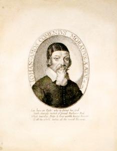 George Glover - Jan Amos Komenský, A Reformation of Scholees, ryto v Londýně v roce 1642 (Praha, Národní knihovna České republiky) – nejstarší známé a dochované vyobrazení Komenského.